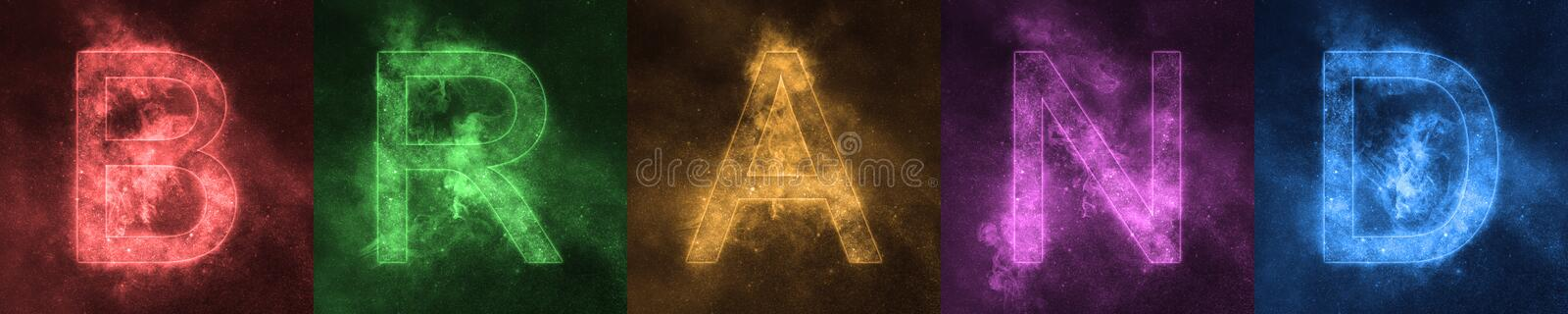 Word lettering BRAND Space stylized colorful Letters. BRAND bann royalty free stock photo