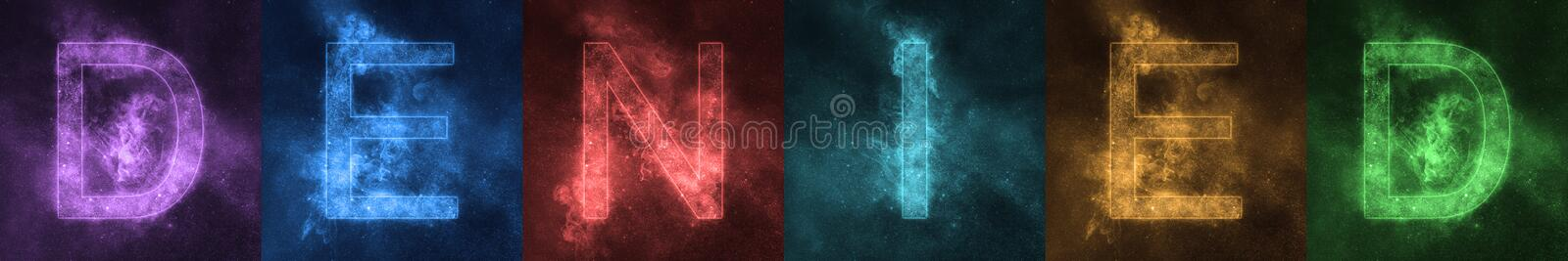 Word lettering DENIED Space stylized colorful Letters. DENIED ba royalty free illustration