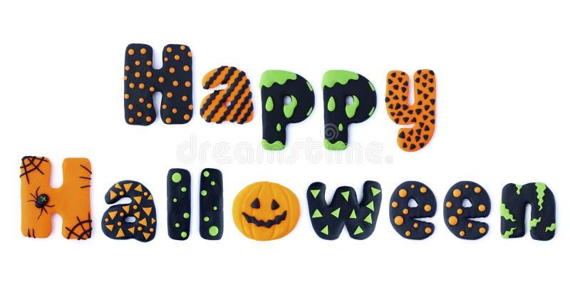 Happy Halloween. Word letters Happy Halloween handmade polymer clay plasticine Isolated postcard. Cute cartoon figures handmade handicraft for clay plastiline vector illustration