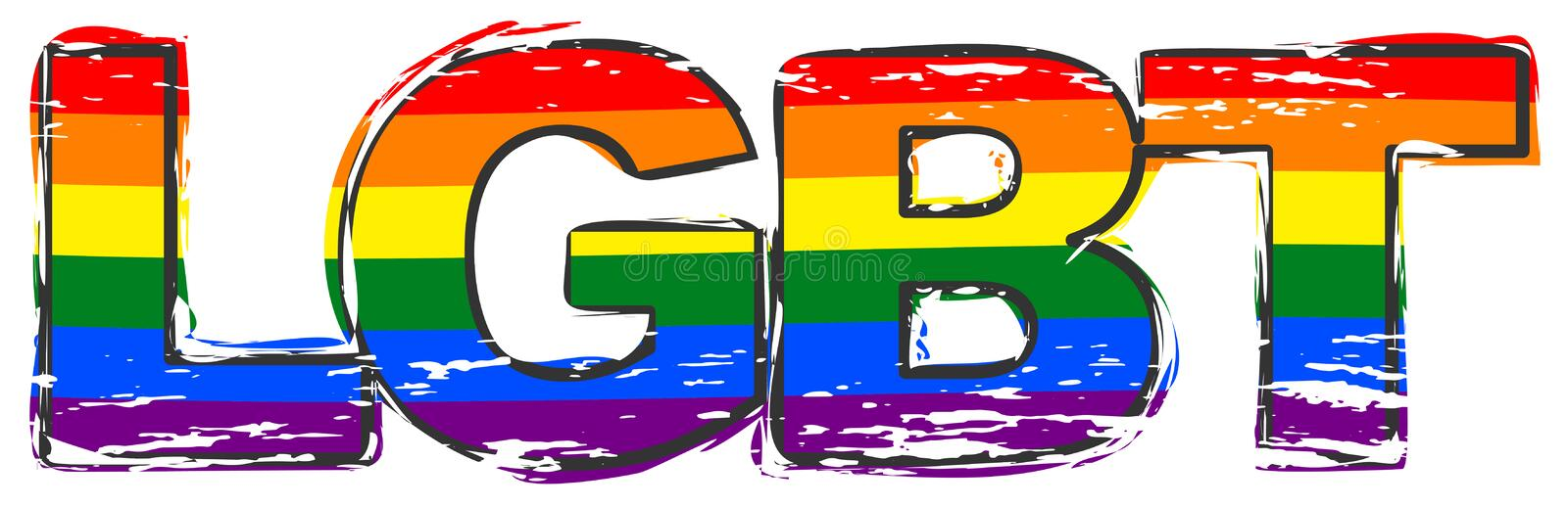 Word LGBT with rainbow pride flag under it, distressed grunge look royalty free illustration