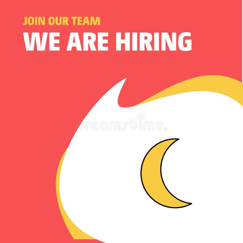Word lid van Ons Team Het Ontwerp van Crescent We Are Hiring Poster Callout van het Busienssbedrijf Het kan voor prestaties van h vector illustratie