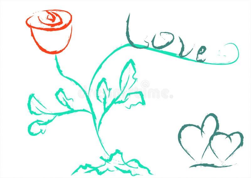 Word liefde, een rood nam en twee harten toe De dag van de valentijnskaart `s royalty-vrije stock afbeelding