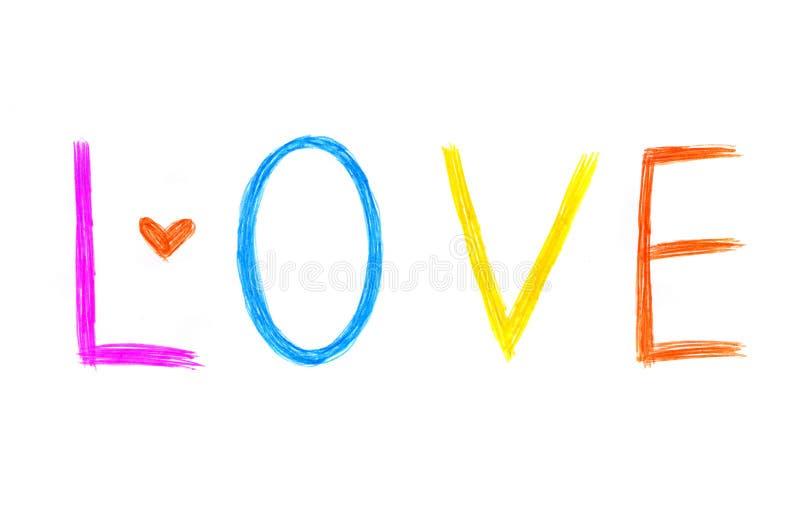 Word `` Liefde `` met abstract hart op witte achtergrond vector illustratie