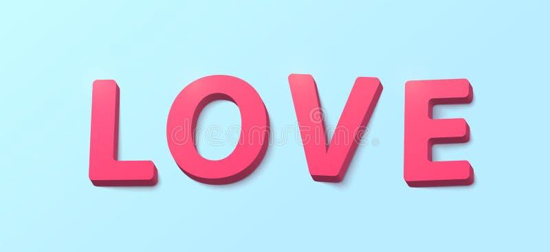 Word Liefde met 3d effect plastic rozerode brieven De gelukkige groet van de valentijnskaartendag stock illustratie