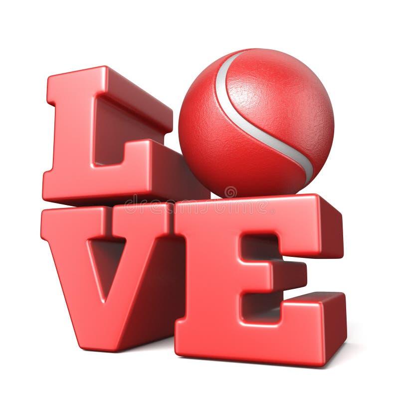 Word LIEFDE met 3D tennisbal vector illustratie