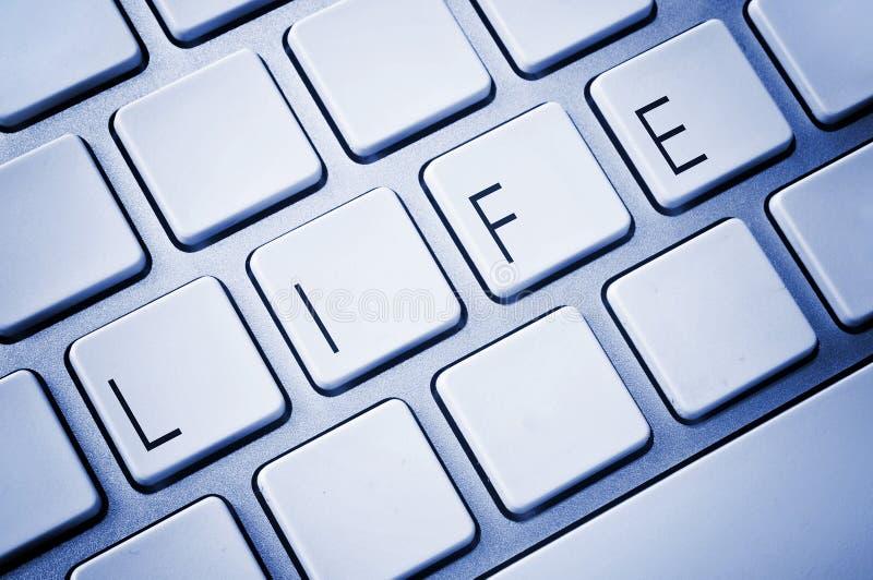 Word Life on computer keyboard stock photos