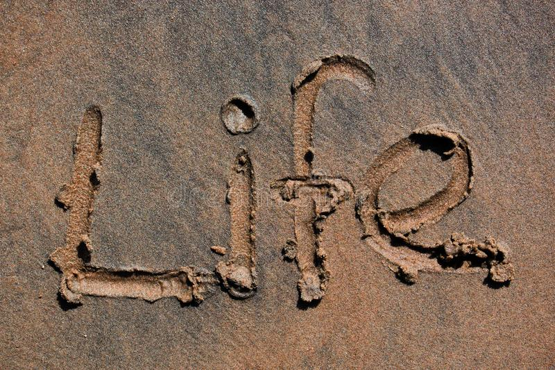 The Word Life Written On The Sand From Above Stock Photo - Image of sandy,  drawing: 119022404