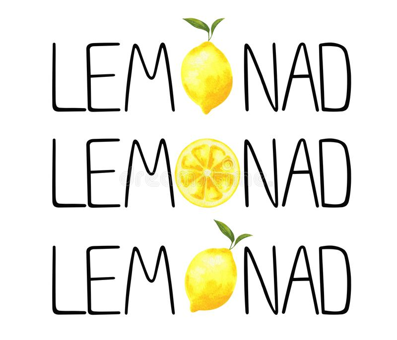 Word limonade met waterverf Lyon stock illustratie