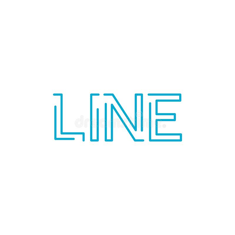 Word line in linear outline style. Vector typography. hope poster or card. Blue graphic element for typography style, minimalistic. Letter design. Editable vector illustration
