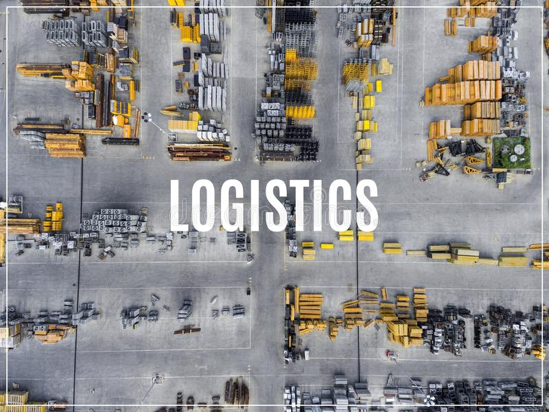 Word Logistics. Industrial storage place, view from above. Word Logistics. Industrial storage place, view from above royalty free stock photos