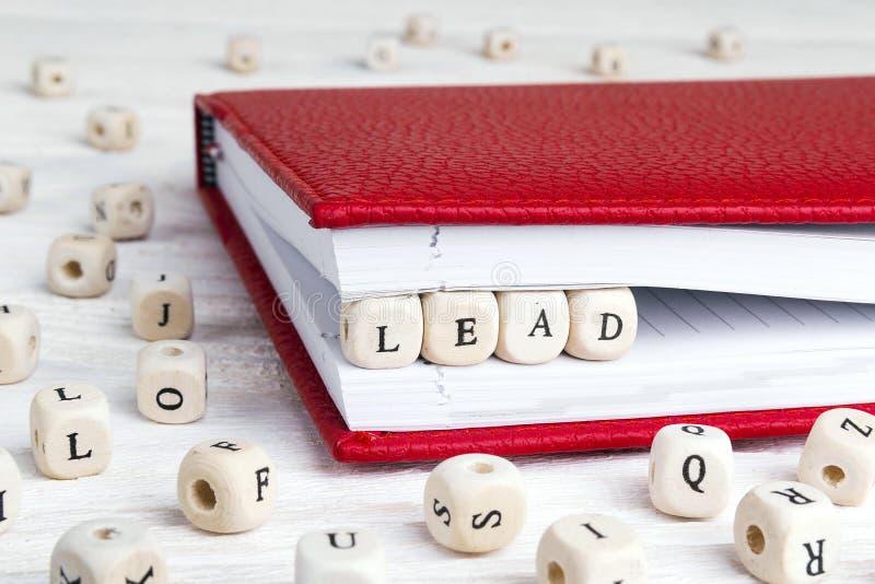 Word Lood in houten blokken in rood notitieboekje op wit hout wordt geschreven dat stock afbeeldingen