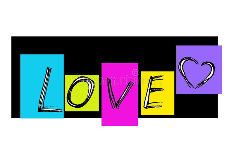Word ``Love`` with abstract heart. And colorful rectangles royalty free illustration