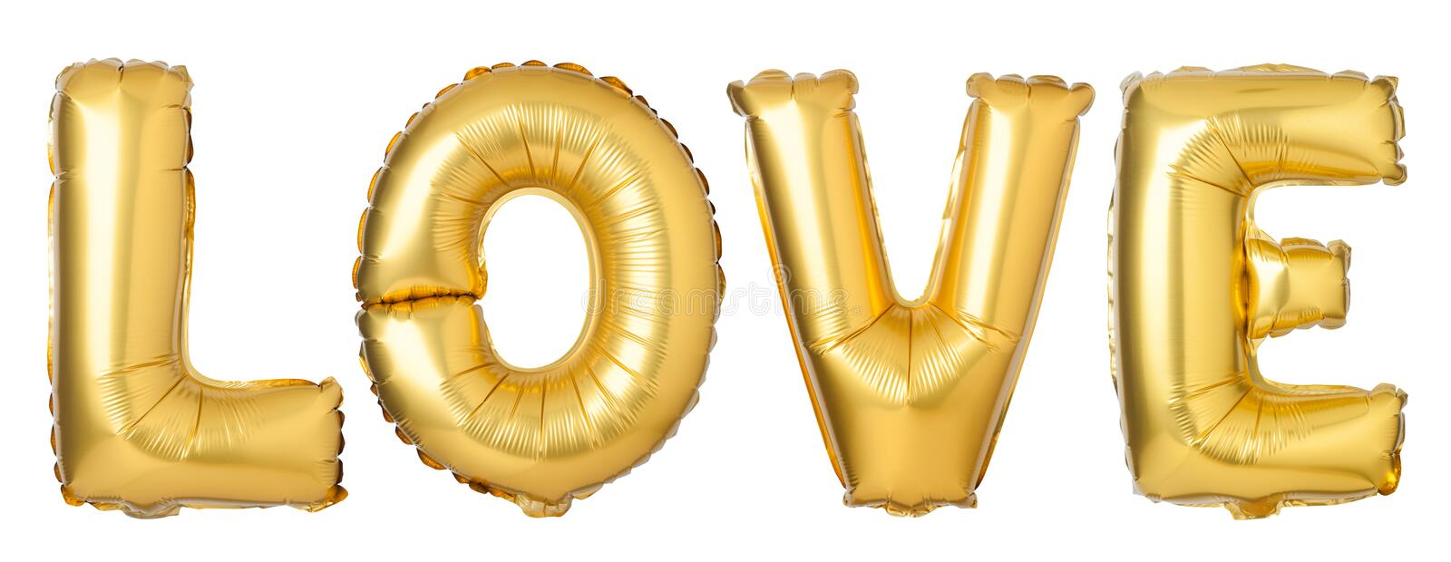 Word LOVE in English alphabet from golden balloons. Isolated on white background stock photography