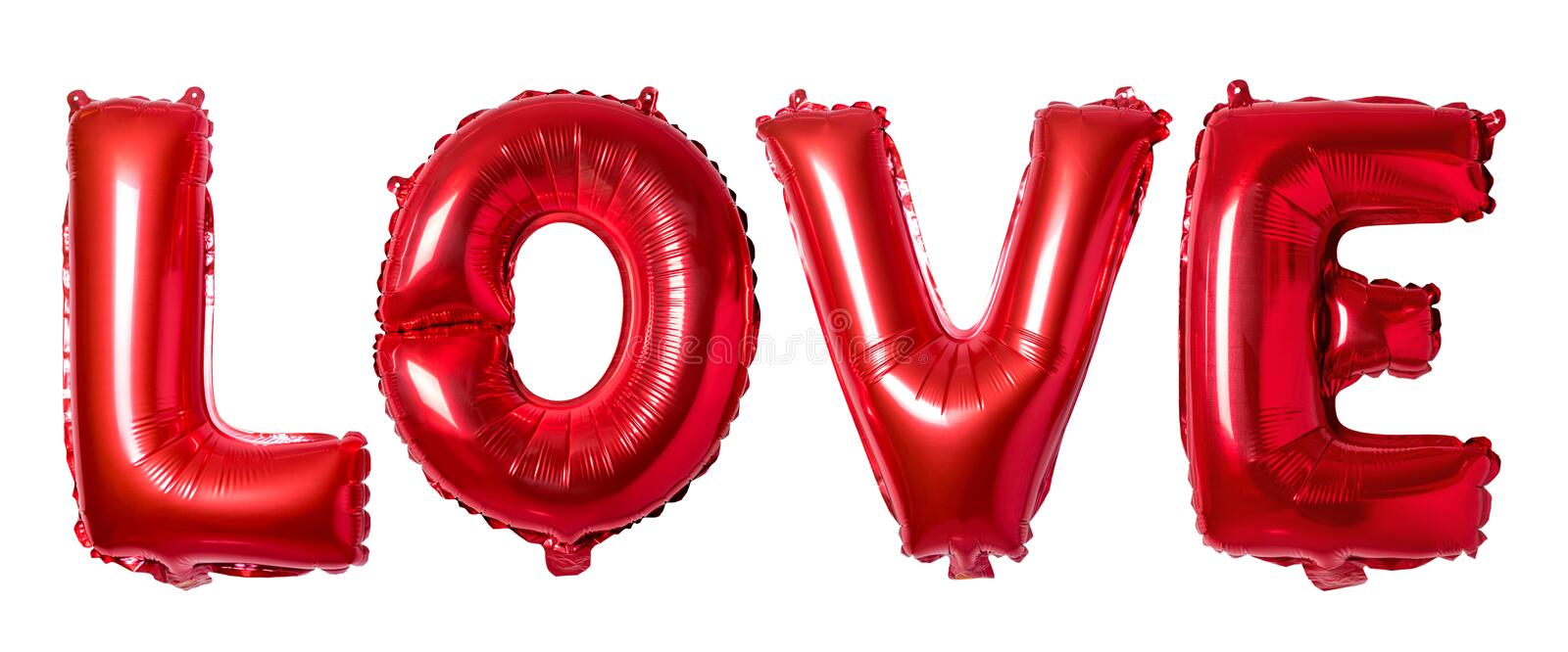 Word love in english alphabet from red balloons on a white background. Minimal love concept.  stock photo