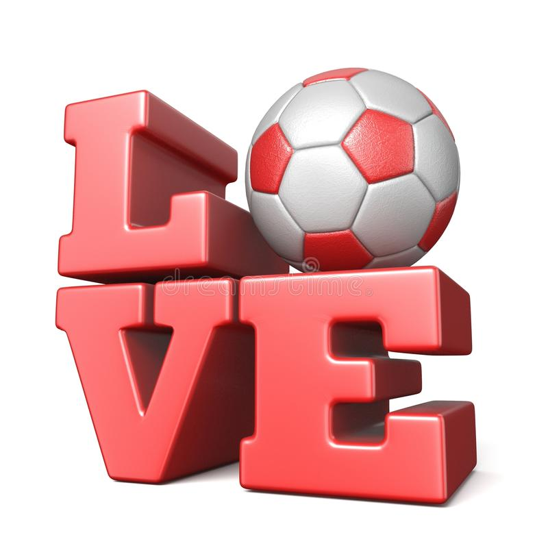 Word LOVE with football soccer ball 3D stock illustration