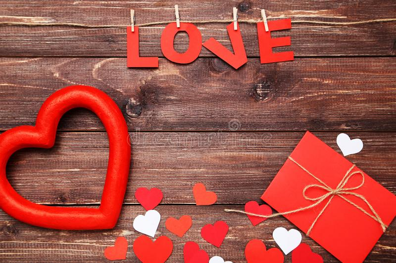 Word Love with hearts royalty free stock photography
