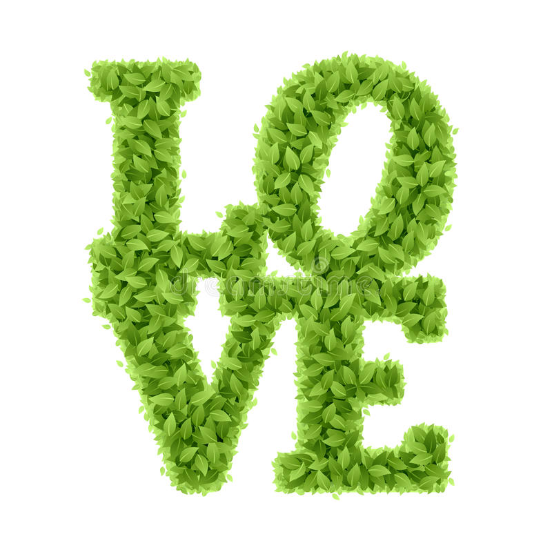 Word Love from leaves. Valentines day stock illustration