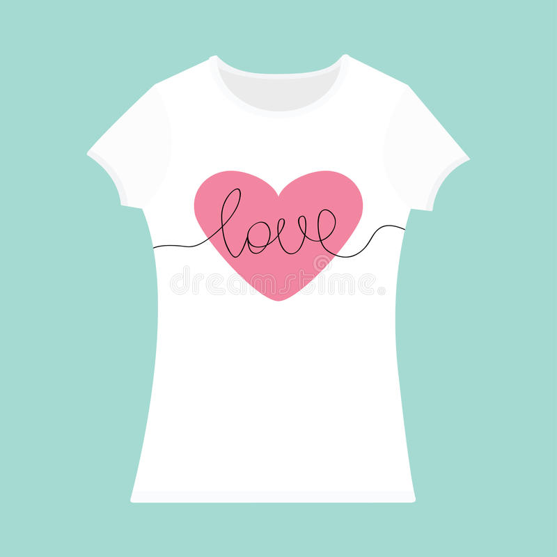 Word love lettering pink heart t shirt template white for T shirt template with model