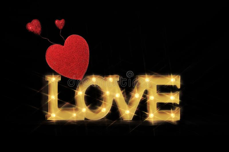 Word Love in Lighted Marquee Letters stock photo
