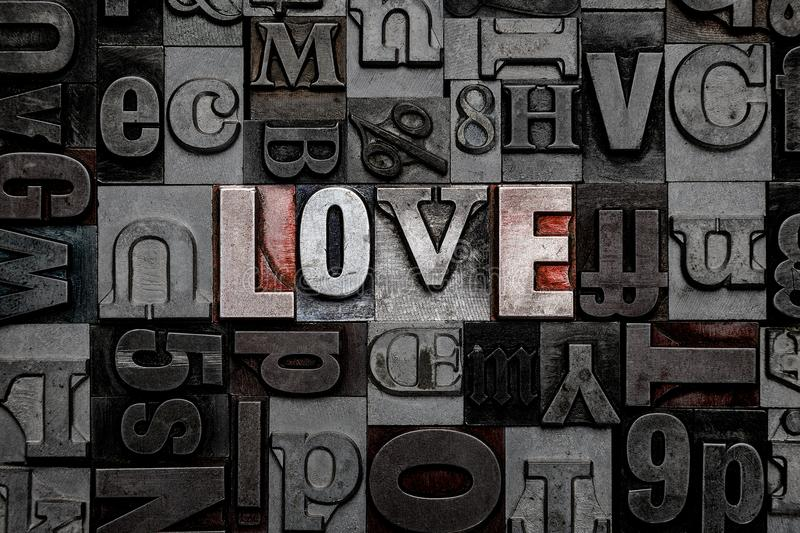 Letterpress Love. The word Love made from old metal letterpress letters stock image