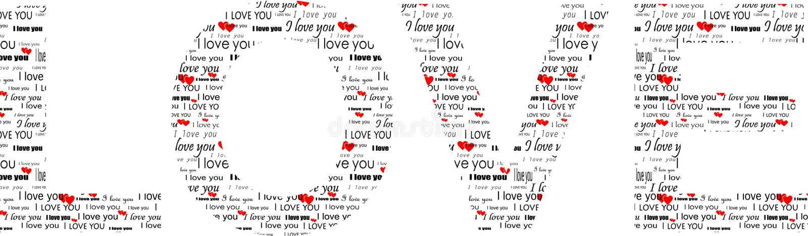 Word love with my swatch. Superscription love with my own valentine swatch stock illustration