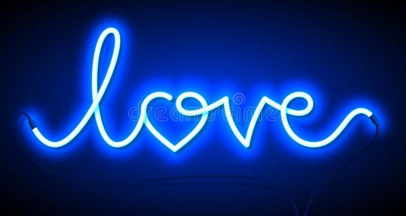 Word Love neon sign. Valentine`s Day greeting card, poster, flyer or banner design element stock illustration