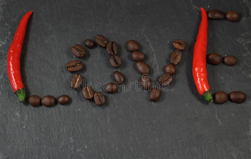 Word Love Pepper and Coffee stock images