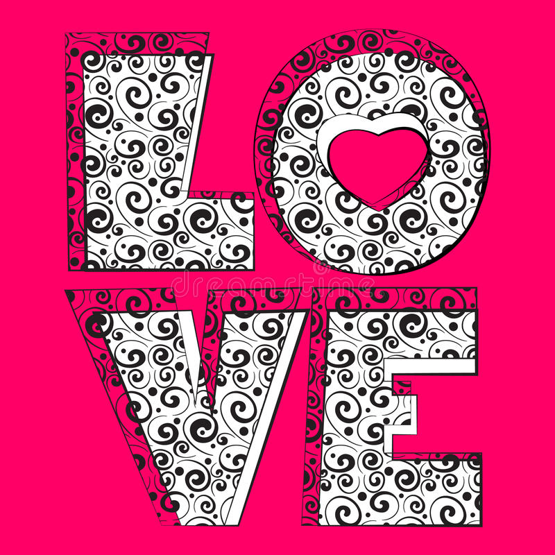 Word love. Pink word love. Vector illustration royalty free illustration