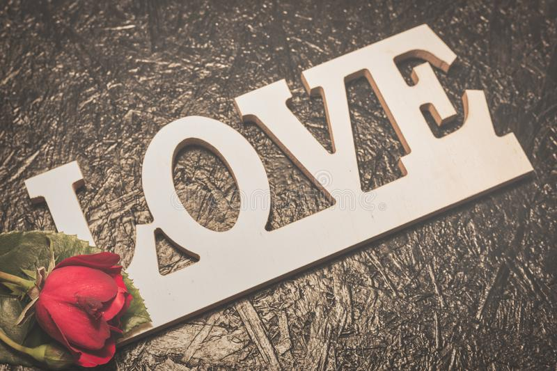 Word love with red rose on black background royalty free stock photo