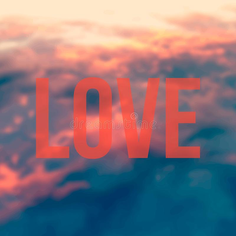 The word love on a red sky blured background. The word love on a red sky vector illustration
