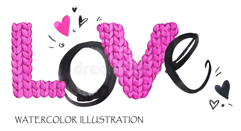 Word Love. Romantic lettering. Hand drawn text background with love word. Valentines day card. royalty free illustration