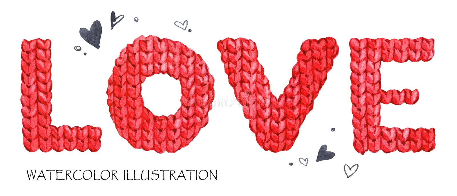 Word Love. Romantic lettering. Hand drawn text background with love word. royalty free illustration