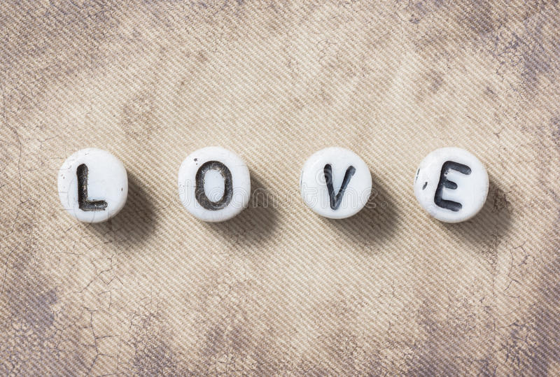 Word love sepia royalty free stock photo