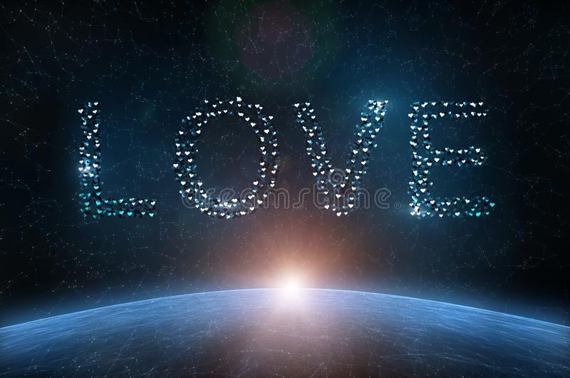 Artistic word love spelled with blue heart shapes royalty free illustration