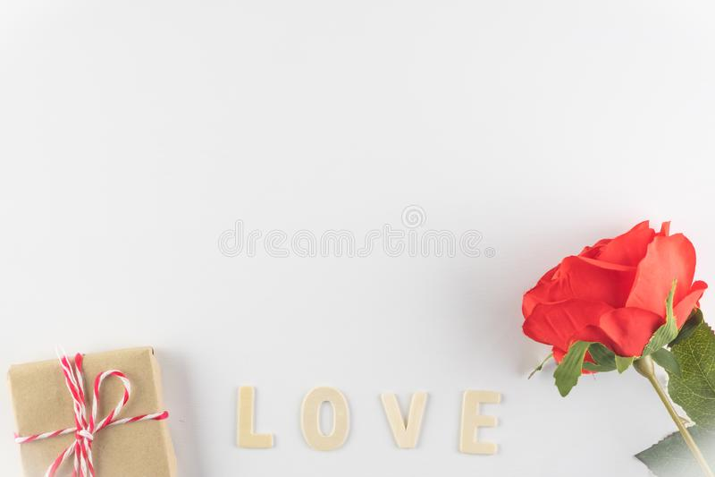 Word LOVE on white background with space for text, Love icon, valentine`s day. Relationships concept royalty free stock images