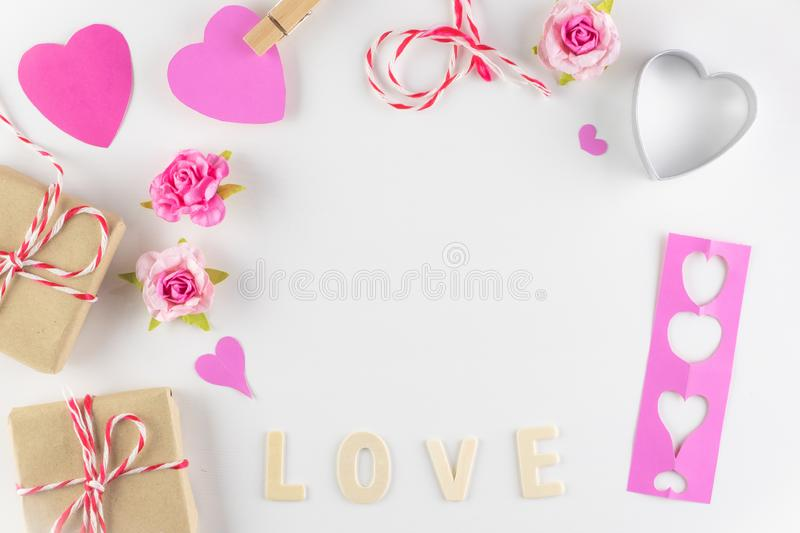 Word LOVE on white background with space for text, Love icon, valentine`s day. Relationships concept royalty free stock photography