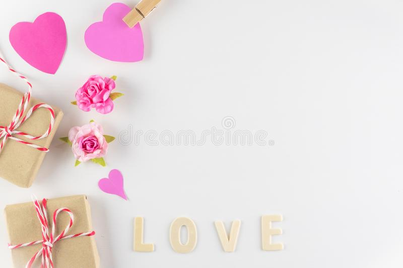 Word LOVE on white background with space for text, Love icon, valentine`s day. Relationships concept royalty free stock image