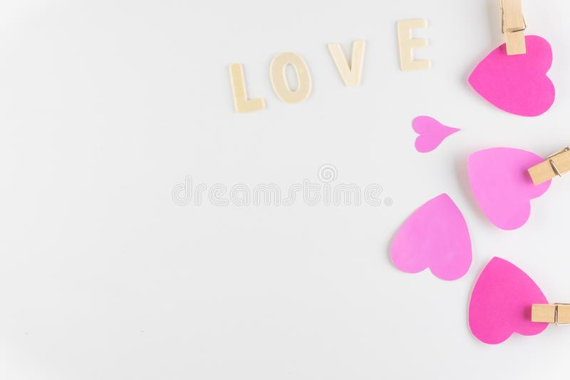 Word LOVE on white background with space for text, Love icon, valentine`s day. Relationships concept stock photos