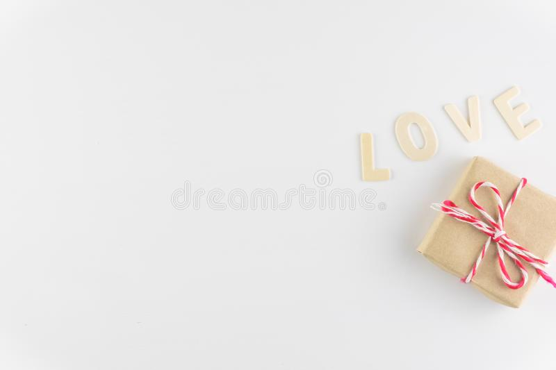 Word LOVE on white background with space for text, Love icon, valentine`s day. Relationships concept royalty free stock photo