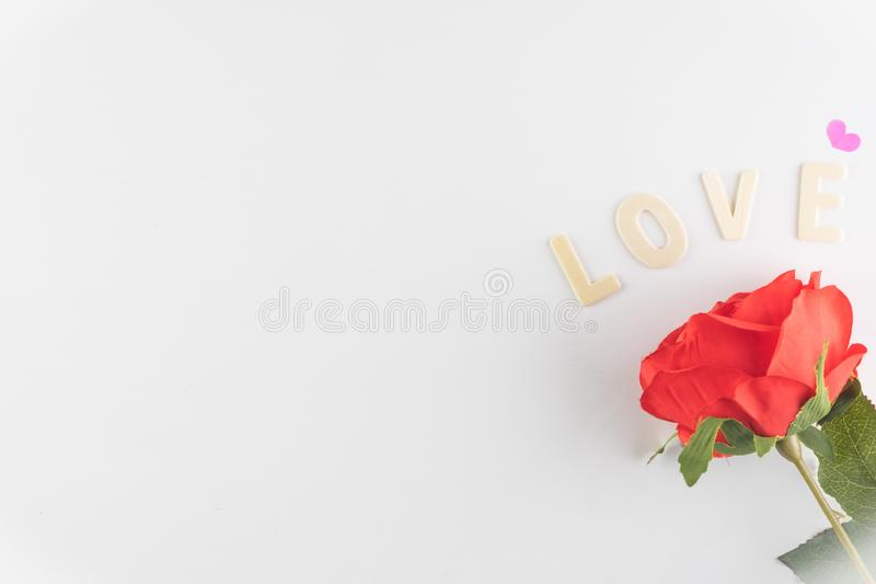Word LOVE on white background with space for text, Love icon, valentine`s day. Relationships concept royalty free stock photos