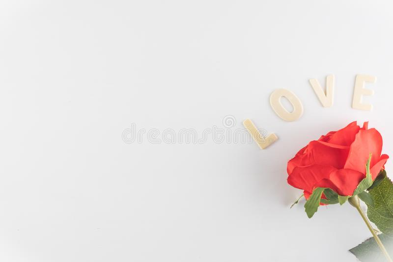 Word LOVE on white background with space for text, Love icon, valentine`s day. Relationships concept stock photo