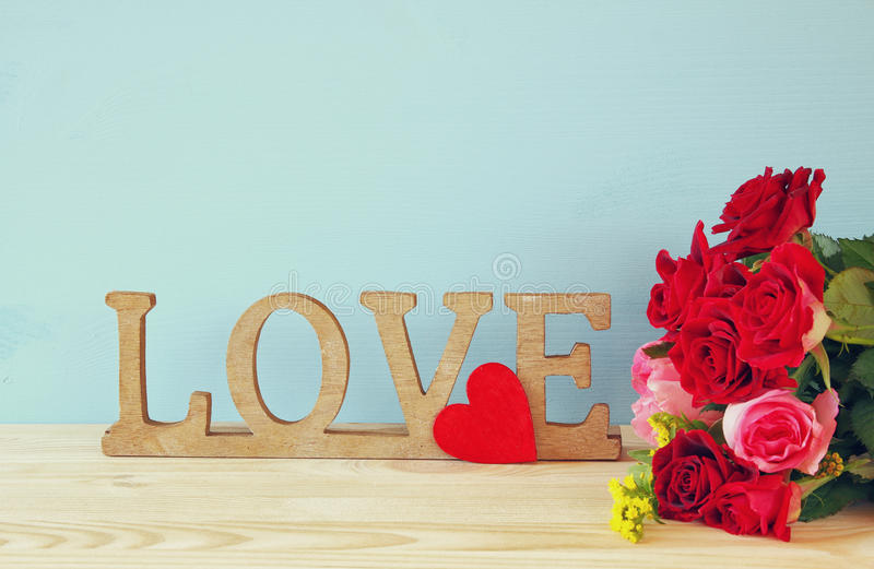 Download Word LOVE From Wooden Letters And Red Heart Stock Image - Image: 83700635