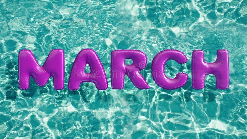 Word ` MAART ` vormde opblaasbaar zwemt ring die in een verfrissend blauw zwembad drijven vector illustratie