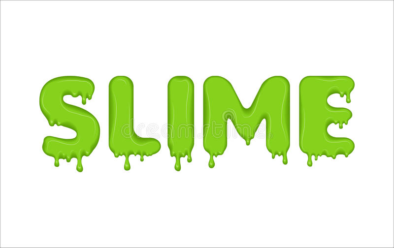 Word made of green slime. Vector word made of flowing liquid green slime. Letters with blots, splashes and smudges. Glossy typeface. Drops slime isolated on royalty free illustration