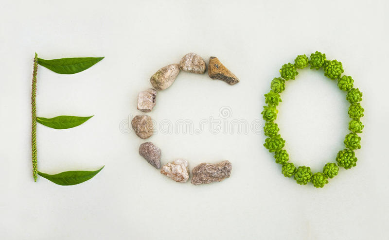 Word made of plants and stones on white background stock images