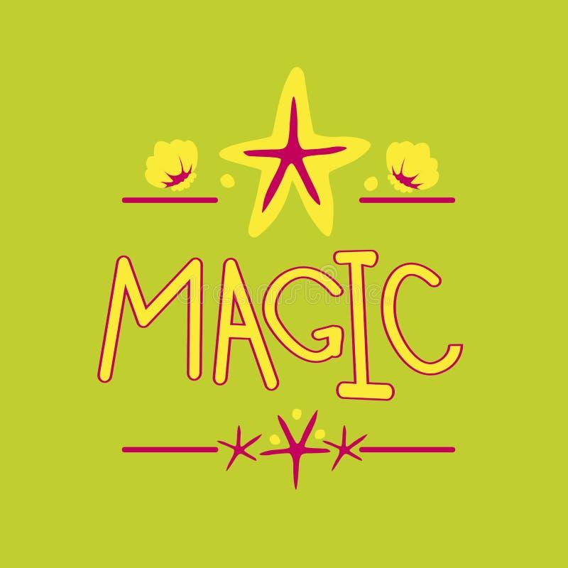 Word Magic, seashells and stars stock illustration
