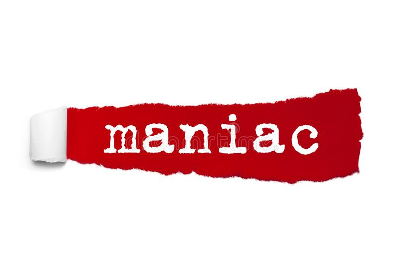 Word Maniac written under the curled piece of Red torn paper royalty free illustration