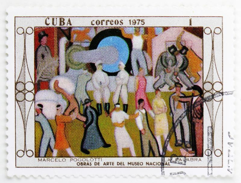 The word, Marcelo Pogolotti, Paintings from the National Museum serie, circa 1975. MOSCOW, RUSSIA - JULY 25, 2019: Postage stamp printed in Cuba shows The word stock images