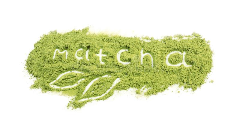 Word MATCHA made of powdered green tea on white background royalty free stock photos