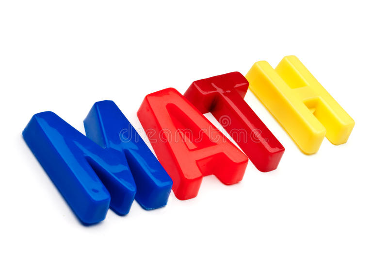 The word math spelled out in toy letters. The word math spelled out in plastic toy letters royalty free stock photo